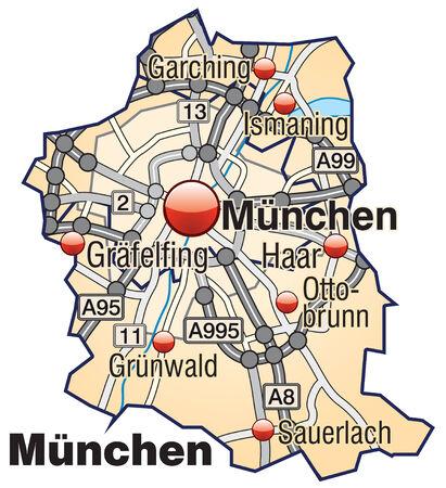 뮌헨: 파스텔 오렌지 고속도로 뮌헨의지도