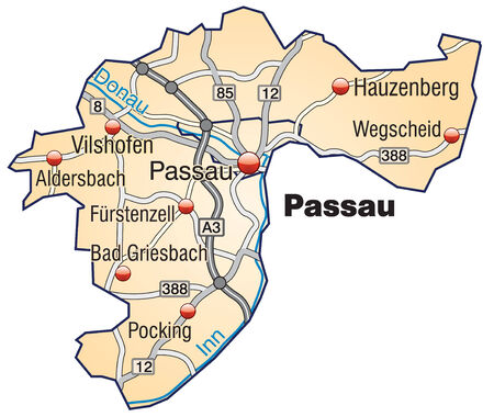geographically: Map of passau with highways in pastel orange