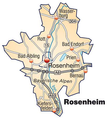 rott: Mapa de rosenheim con carreteras en naranja pastel Vectores