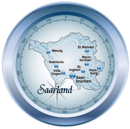 saarland: Map of Saarland as an overview map in blue Illustration