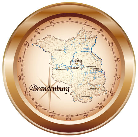falkensee: Map of Brandenburg as an overview map in bronze Illustration