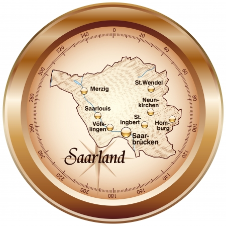 saarland: Map of Saarland as an overview map in bronze