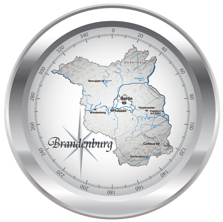falkensee: Map of Brandenburg as an overview map in chrome Illustration