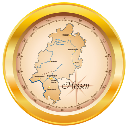hesse: Map of Hesse as an overview map in gold