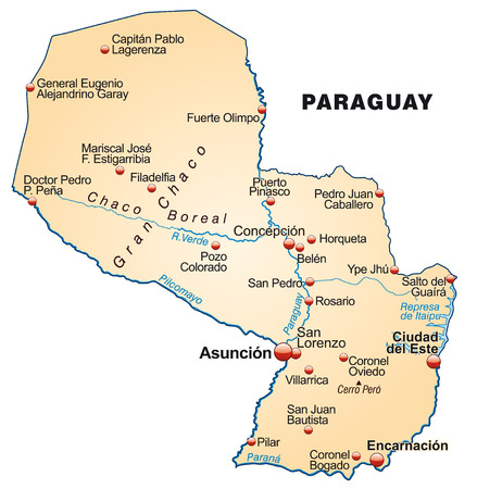 Map of Paraguay as an overview map in pastel orange