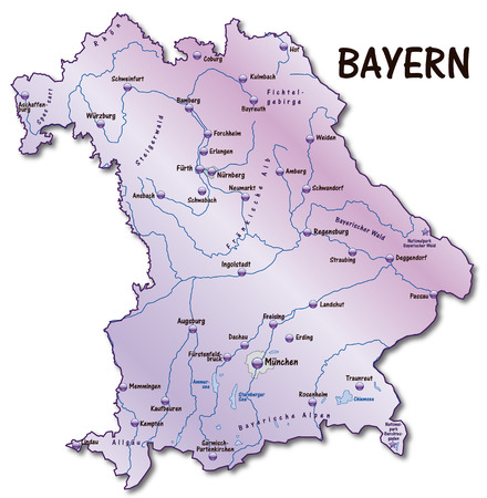 cartographer: Map of Bavaria as an overview map in violet