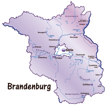 Map of Brandenburg as an overview map in violet Vector