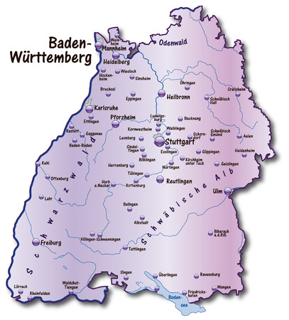stuttgart: Map of Baden-Wuerttemberg as an overview map in violet