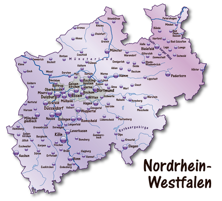 north rhine westphalia: Map of North Rhine-Westphalia as an overview map in violet