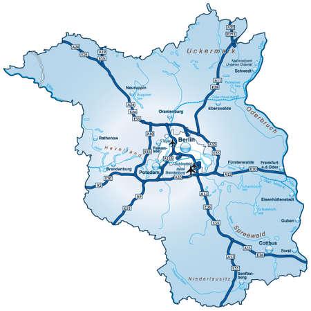 falkensee: Map of Brandenburg with highways in blue Illustration