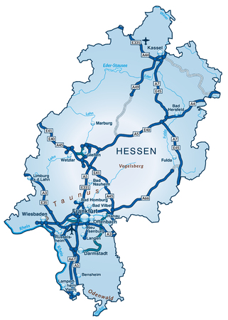 Map of Hesse with highways in blue Ilustrace