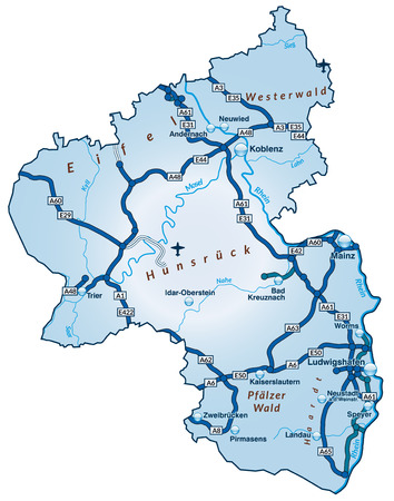 Map of Rhineland-Palatinate with highways in blue
