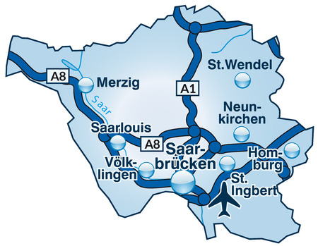 saarlouis: Map of Saarland with highways in blue
