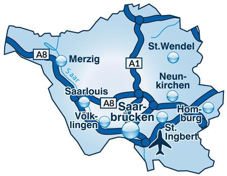saarlouis: Mapa de Saarland con carreteras en azul Vectores