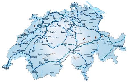 Map of Switzerland with highways in blue Stock Illustratie