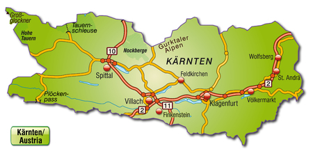 Map of kaernten with highways   Illustration