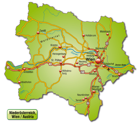 motorway: Map of Lower Austria with highways