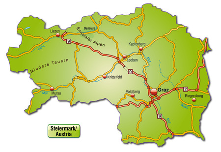 motorway: Map of styria with highways
