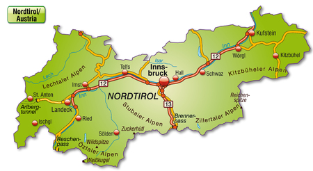 Map of tyrol with highways   Vector