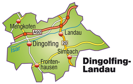 motorway: Map of dingolfing-landau with highways   Illustration