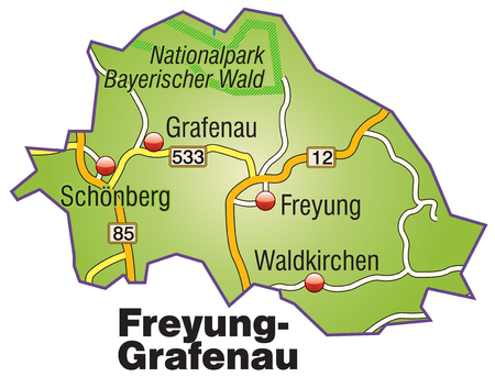 geographically: Map of Freyung Grafenau with highways
