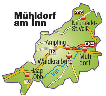 geographically: Map of Muehldorf at the Inn with highways   Illustration