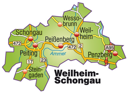 Map of Weilheim Schongau with highways   Vector