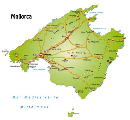Kaart van Mallorca met snelwegen Stock Illustratie
