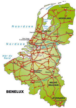 geographically: Map of Benelux with highways   Illustration