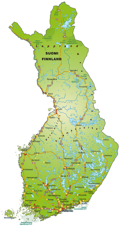 Map of Finland with highways   Illustration