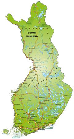 Mappa della Finlandia con le autostrade Archivio Fotografico - 25025953
