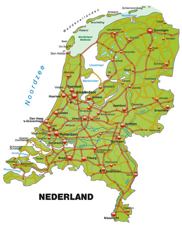 haarlem: Map of Netherlands with highways   Illustration