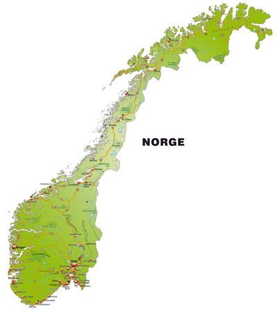 Map of Norway with highways   Illustration
