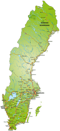 Map of Sweden with highways