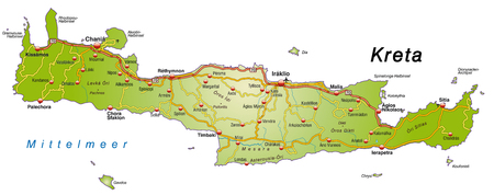 Map of Crete with highways   Vector