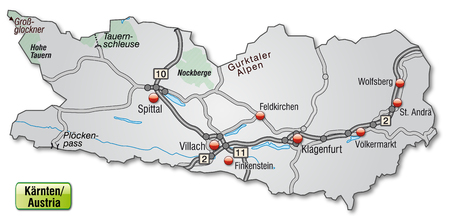 spittal: Map of kaernten with highways in gray