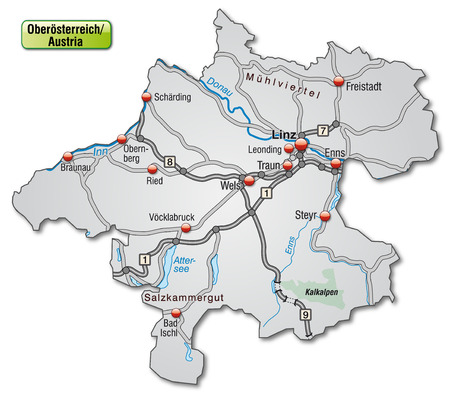 motorway: Map of Upper Austria with highways in gray