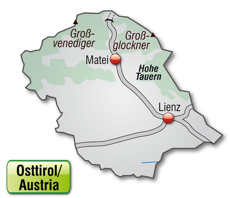 tyrol: Map of East Tyrol with highways in gray