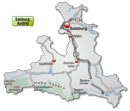 saalfelden: Map of salzburg with highways in gray Illustration
