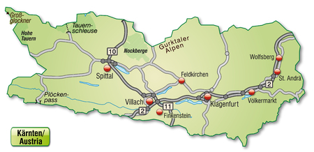 spittal: Map of kaernten with highways in pastel green