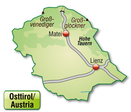 tyrol: Map of East Tyrol with highways in pastel green