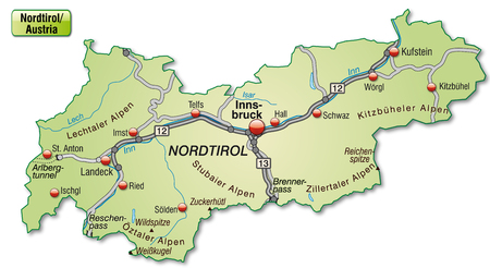 Map of tyrol with highways in pastel green Vector