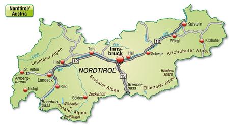 チロル: Map of tyrol with highways in pastel green