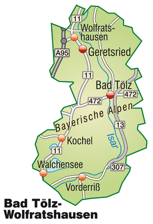 geographically: Map of Bad Toelz Wolfratshausen with highways in pastel green