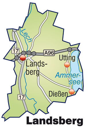 Map of landsberg with highways in pastel green Vector