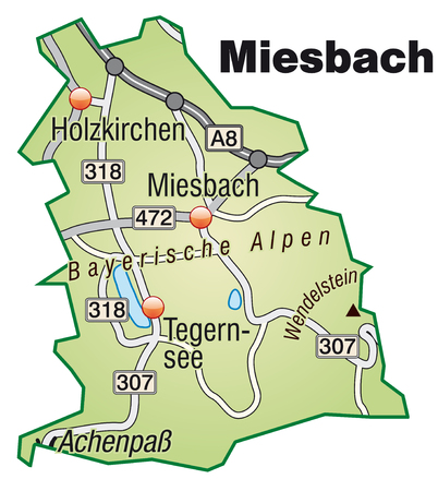lake district: Map of miesbach with highways in pastel green
