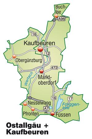 loe: Map of Ostallgaeu Kaufbeuren with highways in pastel green