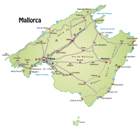 ca: Map of mallorca with highways in pastel green