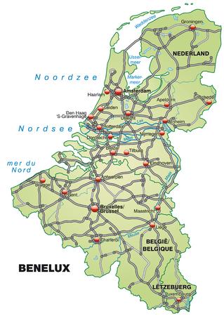 Kaart van de Benelux met snelwegen in pastel groen