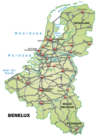 haarlem: Map of Benelux with highways in pastel green Illustration